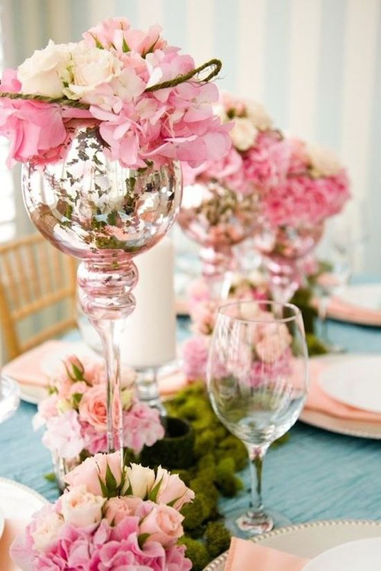 Mercury glass wedding reception decor centerpiece vases