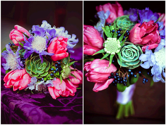 Modern, yet earthy, bridal bouquet- hot pink and purple flowers accented with green succulents