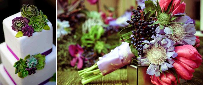 Wedding-detail-shot-white-wedding-cake-fondant-purple-green-succulents-vibrant-bridal-bouquet.full