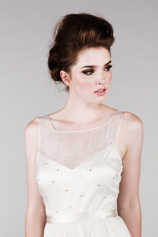 Wedding Dress with a Beaded Bodice and Illusion Neckline