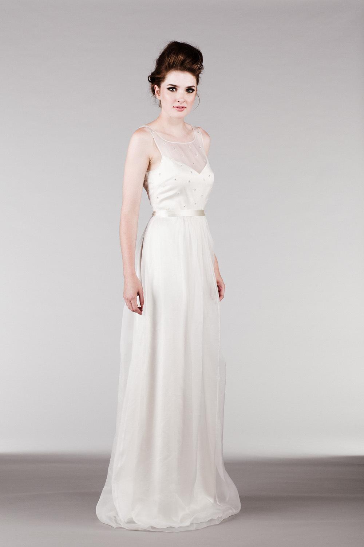 Off White Silk Organza Dress with Beaded Illusion Neckline
