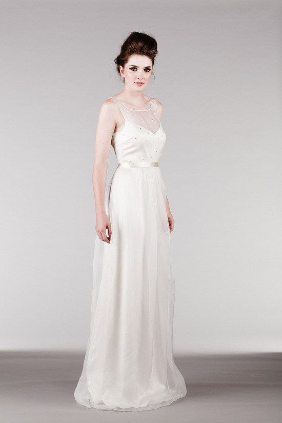 Off White Silk Organza Dress with Beaded Illusion Neckline