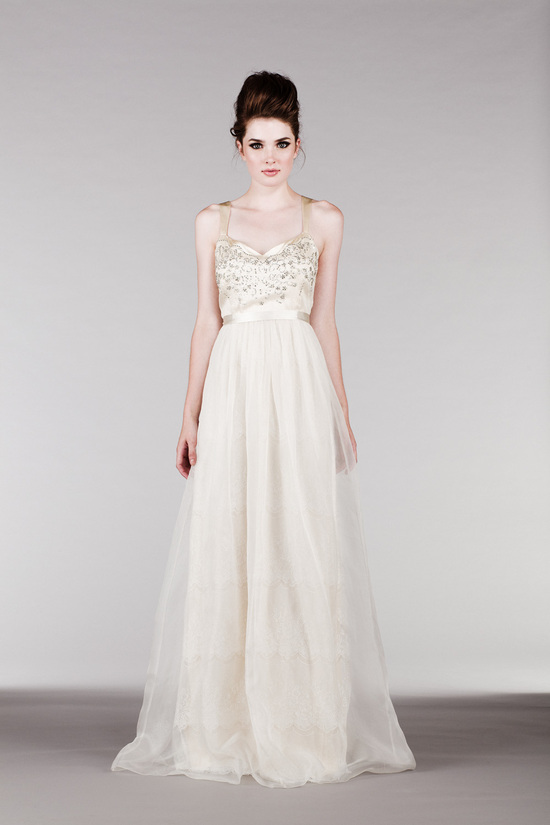 Flowy Off White Silk Organza Dress with Beaded Bodice