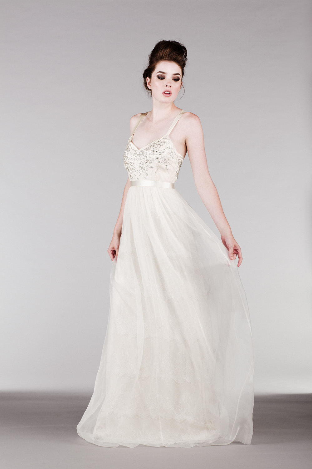 flowy silk organza dress with gorgeous beaded bodice