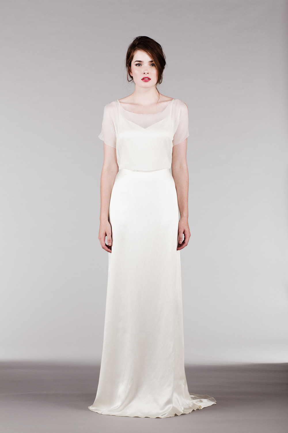 Silk Chiffon Wedding Dress With Illusion Neckline