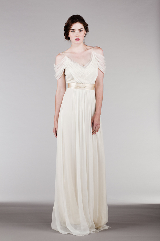 2015 Silk ChiffonWedding Dress with Off Shoulder Sleeves