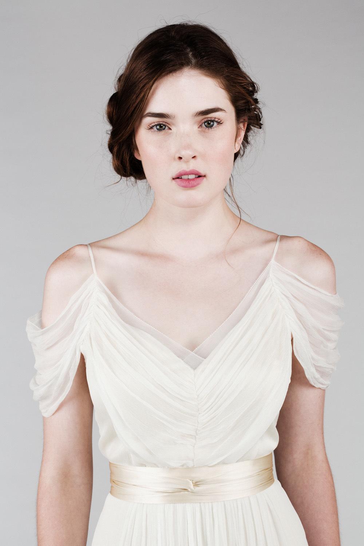Romantic silk chiffon wedding dress with off the shoulder for Wedding dress with off the shoulder sleeves