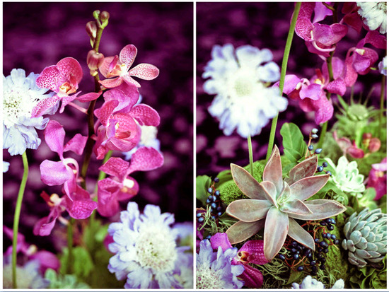 Bright pink orchids, green succulents, and light purple wedding flowers