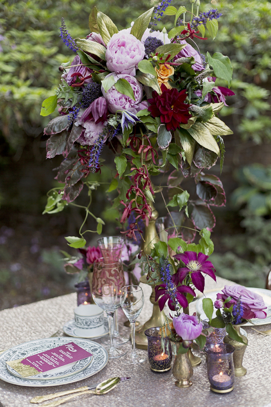 Glamorous Centerpiece with Flowers and Foliage