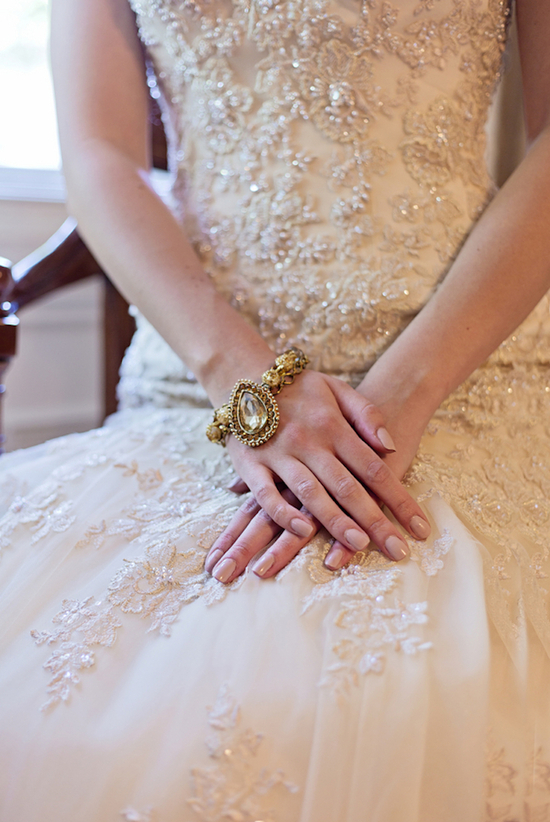 Beautiful Embroidered Gown and Gold Bridal Bracelet