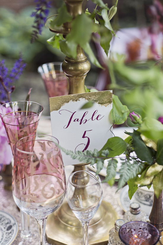 Gold and Plum Stationery Table Number