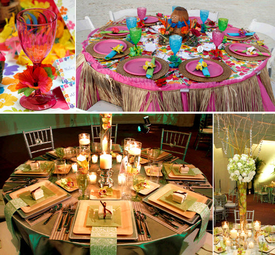A tropical beachside luau rehearsal dinner, and an enchanted garden wedding reception