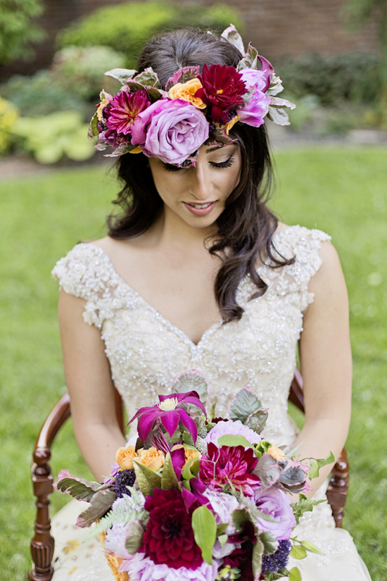 Lush Flower Crown and Bridal Bouquet