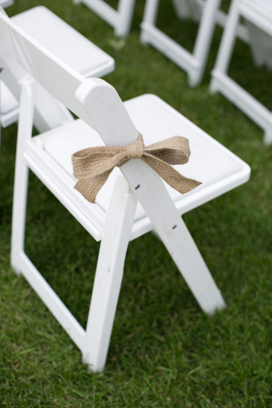 Burlap Bow on Ceremony Chairs