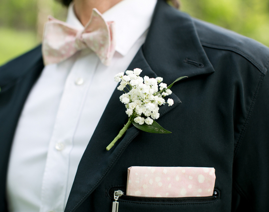 Babys Breath Boutonniere and Pink and White Polka Dotted Bow Tie and Pocket Square