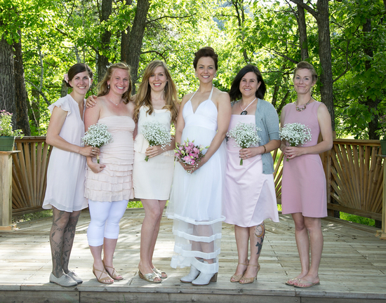 Bridesmaids in Mix and Match Pink Dresses