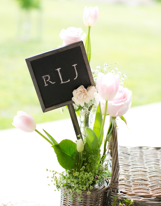 Monogam Sign in Tulip and Babys Breath Floral Arrangement