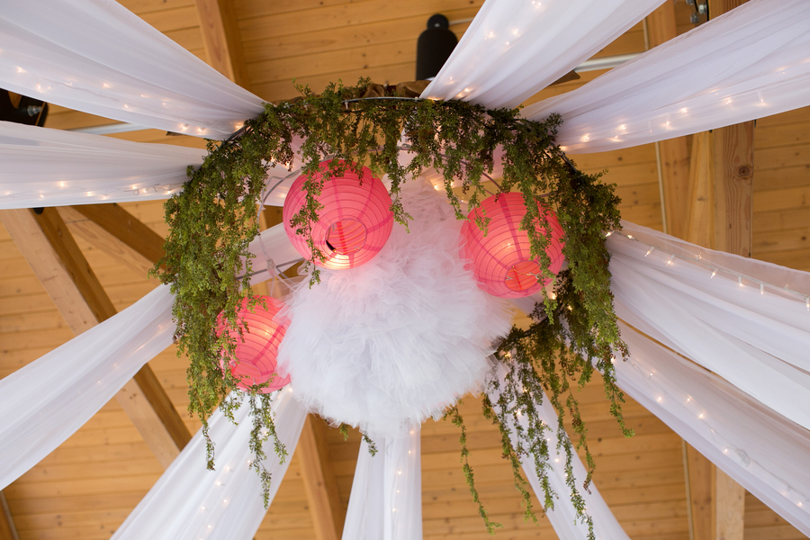 tulle and lights wedding decor reception ceiling decor with tulle lights and paper lanterns 8097