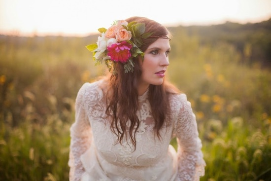 Gorgeous Flower Crown and Lace Gown