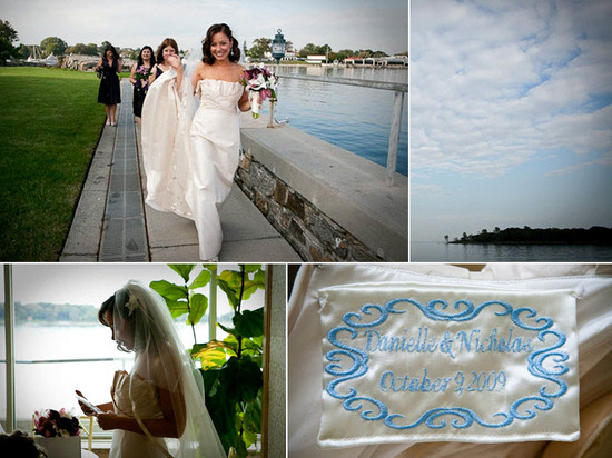 Bride walks by lake with bridesmaids; special something blue sewn inside wedding dress