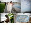 Beautiful-blue-sky-on-lake-as-bride-walks-to-wedding-ceremony-wearing-veil-strapless-wedding-dress-and-something-blue.square