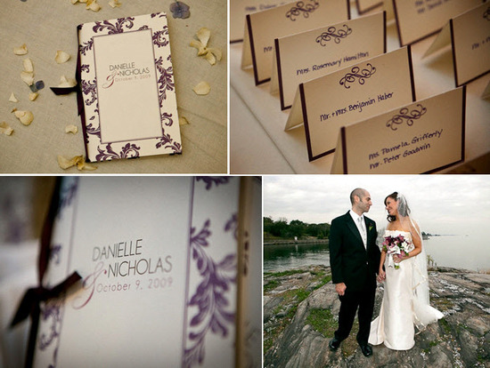 Ivory and eggplant purple letterpress wedding stationery- escort cards, wedding programs, and menus
