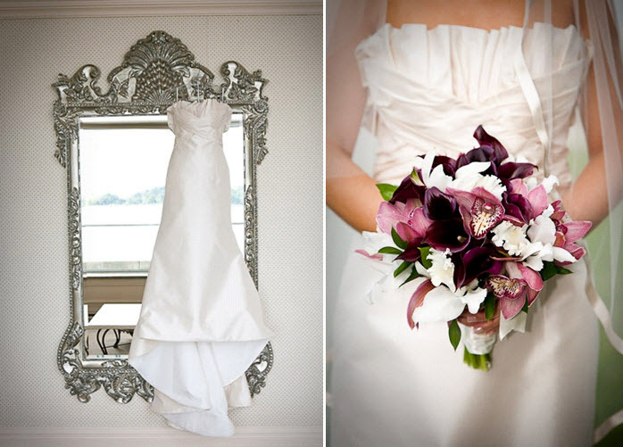 White-strapless-wedding-dress-hangs-on-silver-mirror-bridal-bouquet-with-purple-pink-white-flowers.full