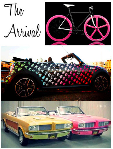 Neon-retro-wedding-inspiration-arrive-in-style-bike-vintage-car.full