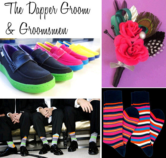 Groom and groomsmen get crazy with colorful socks, boutinierres, and even neon Converse shoes!