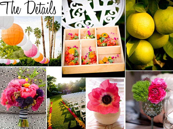 Pink yellow green and orange flowers and decor is - Yellow and orange wedding decorations ...