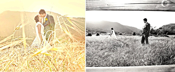 Bride-and-groom-kiss-in-open-field-with-cali-hills-behind-during-sunset.full