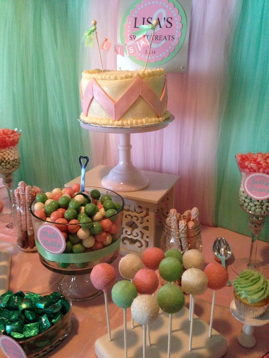 Pink & Seafoam Green Candy Buffet