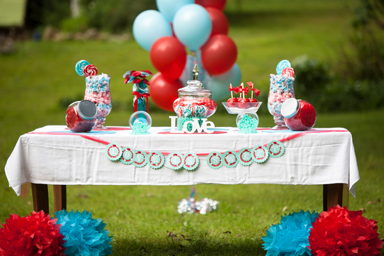 Red & Turquoise Vintage Candy Buffet