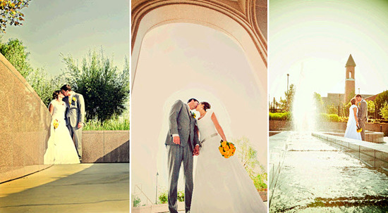 Bride in modest white wedding dress kisses groom (in grey suit) outside wedding ceremony venue