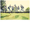 Casual-groomsmen-in-grey-suits-yellow-tie-jump-ninja-style-outside-at-california-quirky-wedding.square