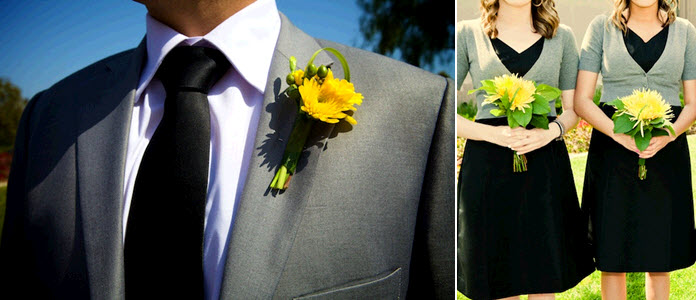 groom wears grey suit black tie and yellow boutonniere