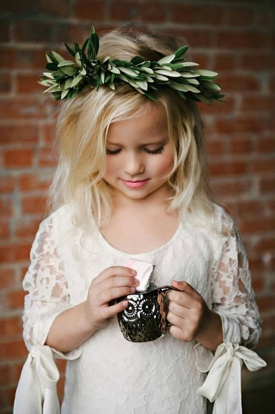 Beautiful Flower Girl with Lace Dress and Flower Crown