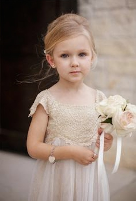 Cute Flower Girl Dress with Lace Bodice