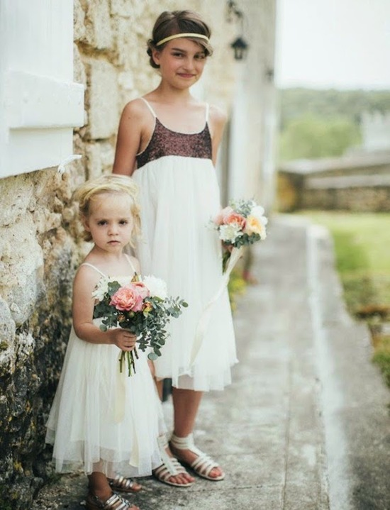 Adorable Flower Girls in Dresses with Tulle Skirts