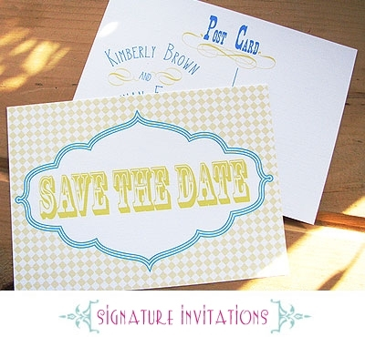 Fun and eco-chic wedding save-the-dates with white, blue and yellow wedding color palette