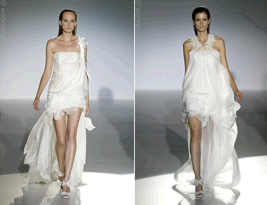 Yolan Cris wedding dresses with satin organza sweeps of drape that fall into a dramatic back train