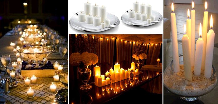 Inexpensive Romantic Wedding Decor Idea White Candles