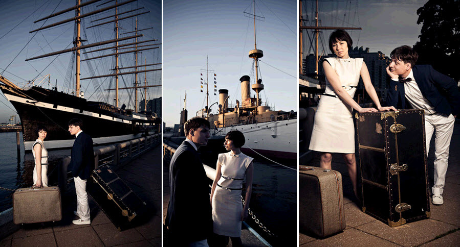 Vintage-outdoor-urban-wedding-bride-groom-with-vintage-trunk-suitcases-wait-to-board-boat-for-honeymoon.full
