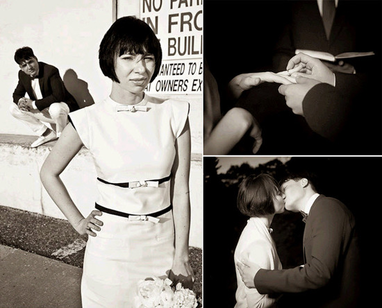Retro groom slips wedding band on bride's finger; kiss after saying I Do