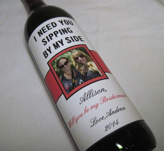 Ask Your Bridesmaids With a Wine Bottle