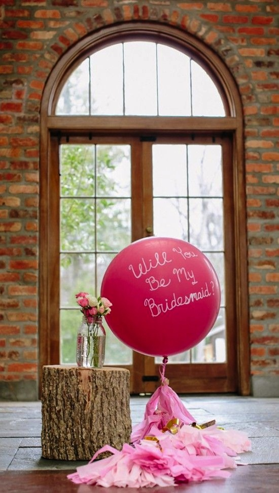 Ask Your Bridesmaids with a Balloon