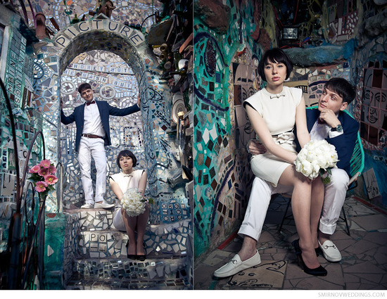 Vintage bride and groom pose at Philadelphia's famous Magic Gardens
