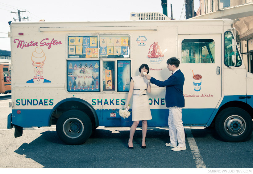 Retro Groom Offers Ice Cream Cone To Vintage Bride Pose In Front Of Truck