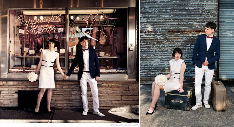 Bride-in-jackie-o-white-knee-length-wedding-dress-white-rose-bridal-bouquet-prepare-for-honeymoon.full