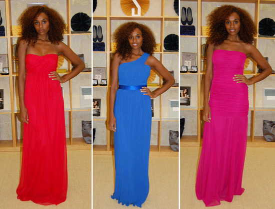 Grecian-inspired bright red, electric blue, and hot pink sheath bridesmaids dresses